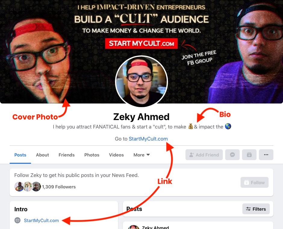 Facebook marketing 2021 - example of personal profile